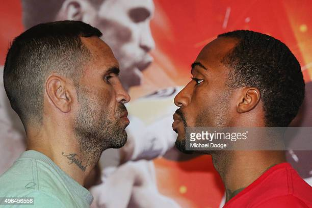 Anthony Mundine of Australia and Charles Hatley of the USA face off during the weigh in ahead of tomorrow night's fight on November 10 2015 in...