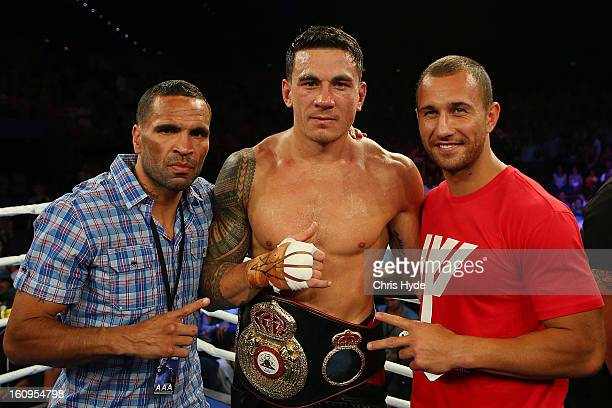 Anthony Mundine Sonny Bill Williams and Quade Cooper celebrate after Sonny Bill Williams heavyweight bout win against Francois Botha at the Brisbane...