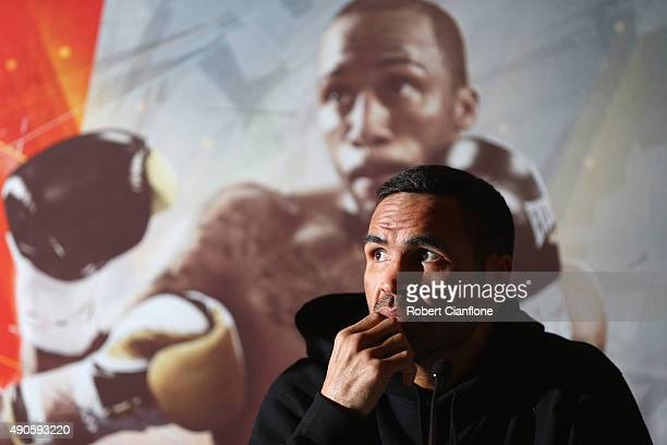 Anthony Mundine speaks to the media during a press conference at The Melbourne Convention and Exhibition Centre on September 30 2015 in Melbourne...