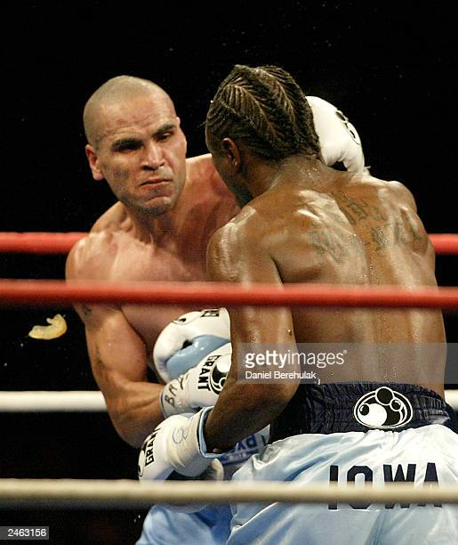 Anthony Mundine's mouthguard is dislodged during the WBA Super Middleweight World Title Fight between Anthony 'The Man' Mundine and Antwun 'Kid...