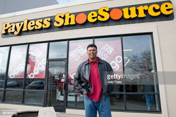Anthony Munoz poses for a photo at Payless ShoeSource on November 20 2009 in Cincinnati Ohio