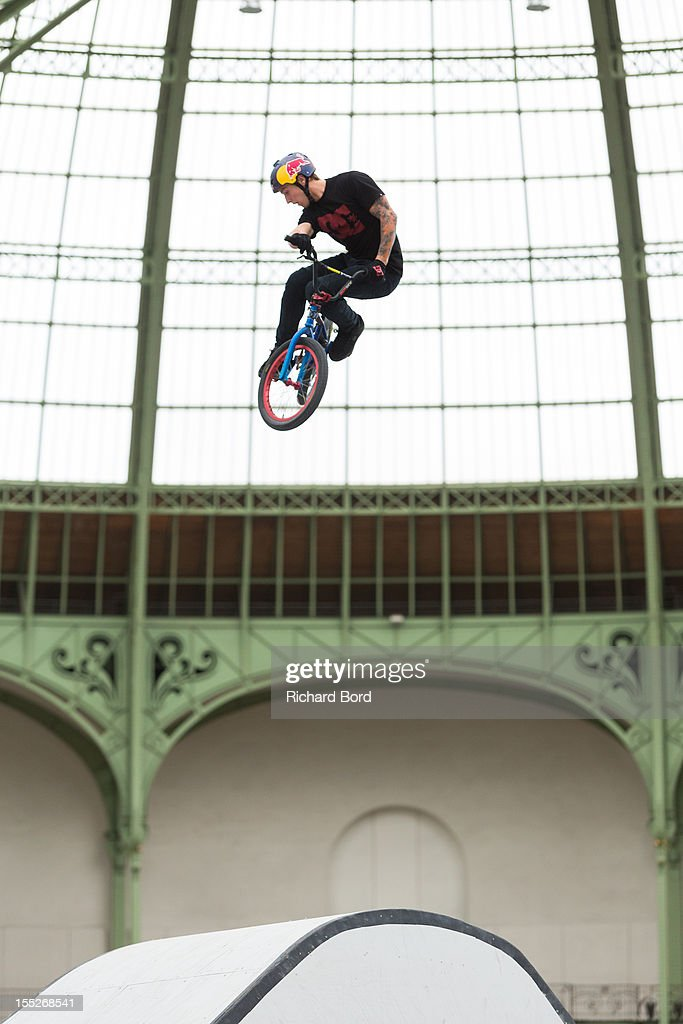 Anthony Napolitan from the USA performs during a training session for the RedBull Skylines BMX Contest at Grand Palais on November 2, 2012 in Paris, France.