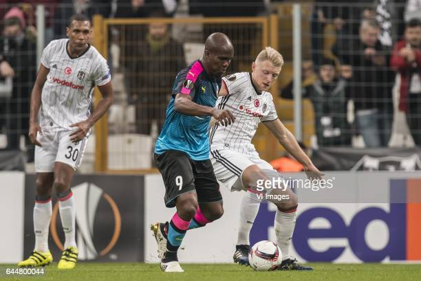 Anthony Nwakaeme of Hapoel Beer Sheva Andreas Beck of Besiktas JKduring the UEFA Europa League round of 16 match between Besiktas JK and Hapoel Beer...
