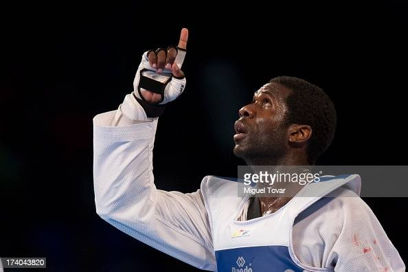Anthony Obame of Gabon celebrates after winning the gold medal of men's 87 kg combat of WTF World Taekwondo Championships 2013 at the exhibitions...