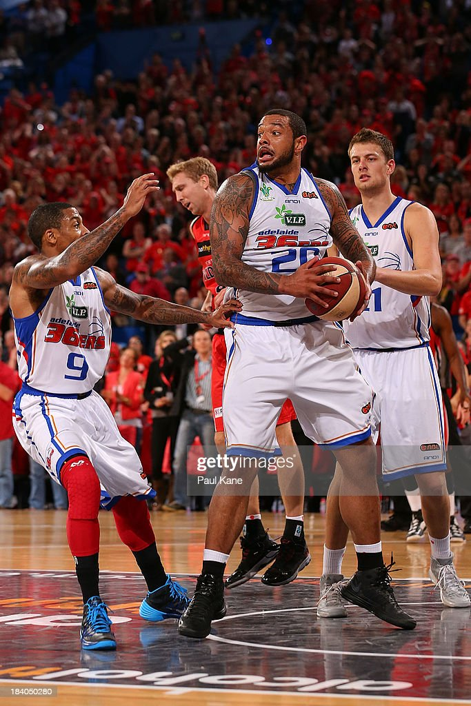 BJ Anthony of the 36ers pulls down a rebound during the round one NBL match between the Perth Wildcats and the Adelaide 36ers at Perth Arena in October 11, 2013 in Perth, Australia.
