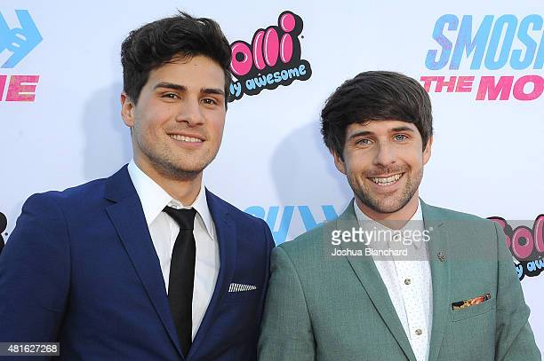 Anthony Padilla and Ian Hecox attend the premiere of SMOSH THE MOVIE at Westwood Village Theatre on July 22 2015 in Westwood California