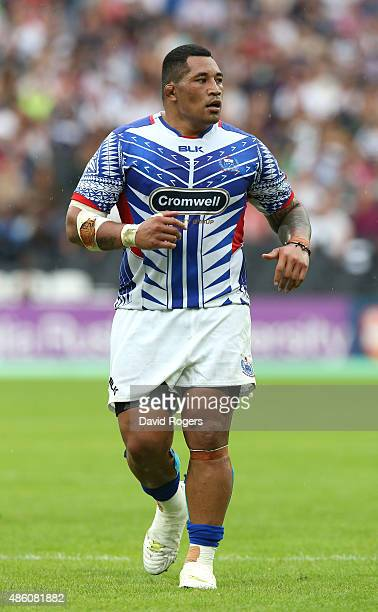 Anthony Perenise of Samoa looks on during the Rugby Union match between the Barbarians and Samoa at the Olympic Stadium on August 29 2015 in London...