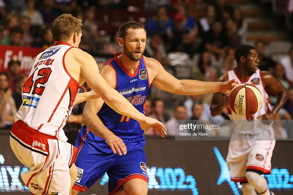 Anthony Petrie of Adelaide moves the ball forward during the round 17 NBL match between the Adelaide 36ers and the Wollongong Hawks at Adelaide Arena on February 1, 2013 in Adelaide, Australia.