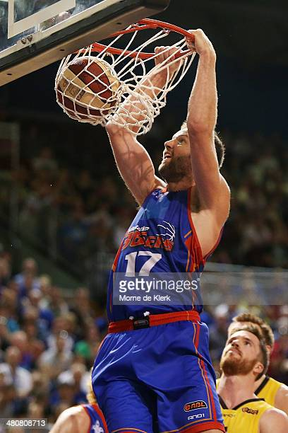 Anthony Petrie of the 36ers dunks the ball during game one of the NBL Semi Final series between the Adelaide 36ers and the Melbourne Tigers at...