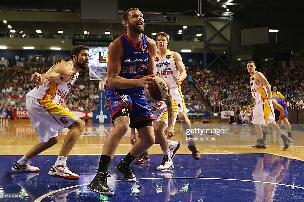 Anthony Petrie of the 36ers goes for the basket during the round 18 NBL match between the Adelaide 36ers and the Melbourne Tigers at Adelaide Arena on February 10, 2013 in Adelaide, Australia.