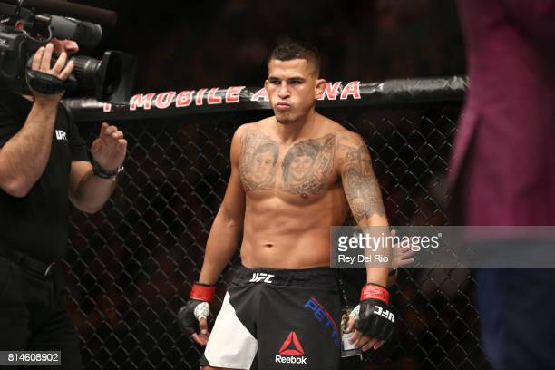 Anthony Pettis stands in the Octagon prior to his bout against Jim Miller in their lightweight bout during the UFC 213 event at TMobile Arena on July...