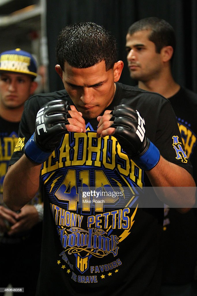 Anthony Pettis warms up backstage during the UFC 164 event at BMO Harris Bradley Center on August 31 2013 in Milwaukee Wisconsin