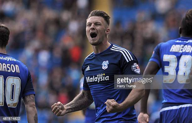 Anthony Pilkington of Cardiff City celebrates his sides first goal during the Sky Bet Championship match between Cardiff City and Huddersfield at...