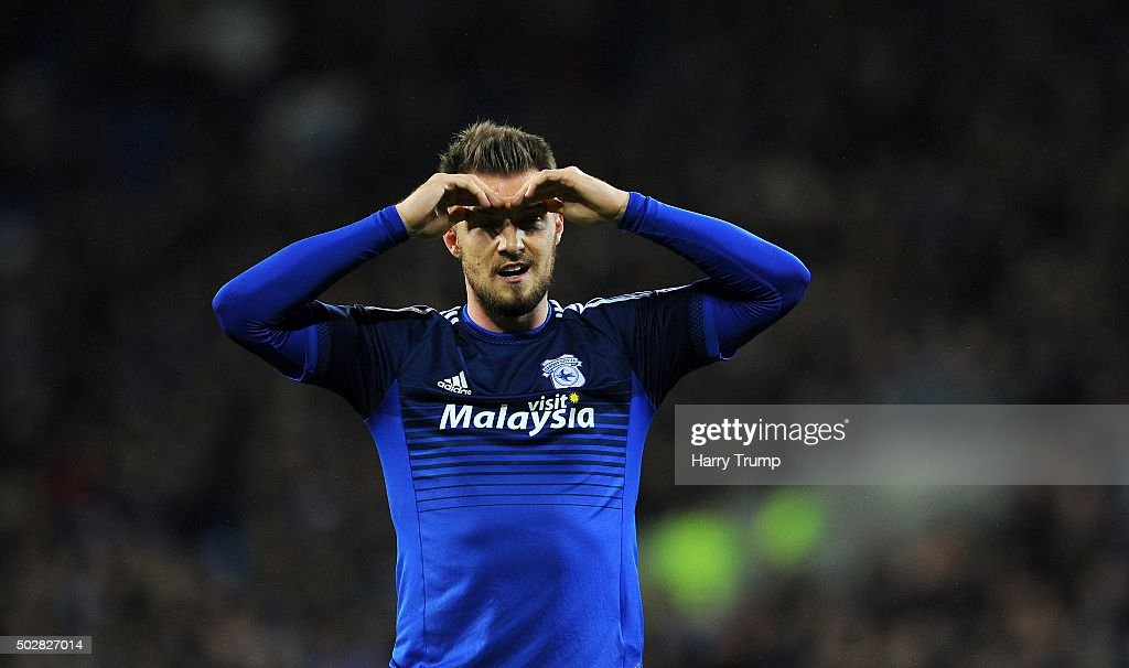 <a gi-track='captionPersonalityLinkClicked' href=/galleries/search?phrase=Anthony+Pilkington&family=editorial&specificpeople=5359752 ng-click='$event.stopPropagation()'>Anthony Pilkington</a> of Cardiff City reacts during the Sky Bet Championship match between Cardiff City and Nottingham Forest at the Cardiff City Stadium on December 29, 2015 in Cardiff, Wales.