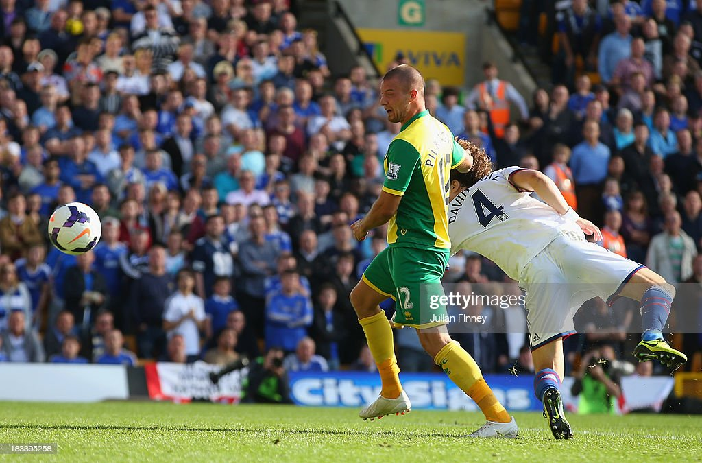 Anthony Pilkington of Norwich City scores their first goal during the Barclays Premier League match between Norwich City and Chelsea at Carrow Road on October 6, 2013 in Norwich, England.