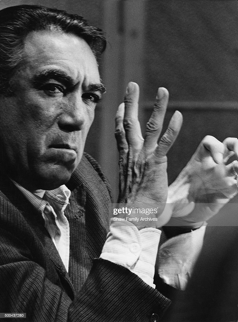 Anthony Quinn in 1963 during the filming of 'The Visit' in Rome, Italy.