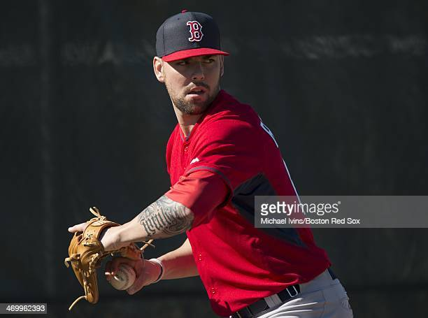 Anthony Ranaudo of the Boston Red Sox throws during a Spring Training workout at Fenway South on February 17 2014 in Fort Myers Florida