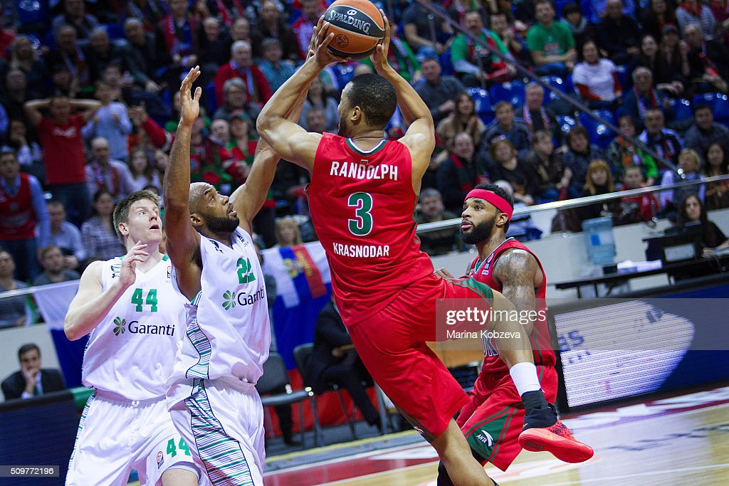 <a gi-track='captionPersonalityLinkClicked' href=/galleries/search?phrase=Anthony+Randolph&family=editorial&specificpeople=4679330 ng-click='$event.stopPropagation()'>Anthony Randolph</a>, #3 of Lokomotiv Kuban Krasnodar in action during the Turkish Airlines Euroleague Basketball Top 16 Round 7 game between Lokomotiv Kuban Krasnodar v Darussafaka Dogus Istanbul at Basket Hall on February 12, 2016 in Krasnodar, Russia.