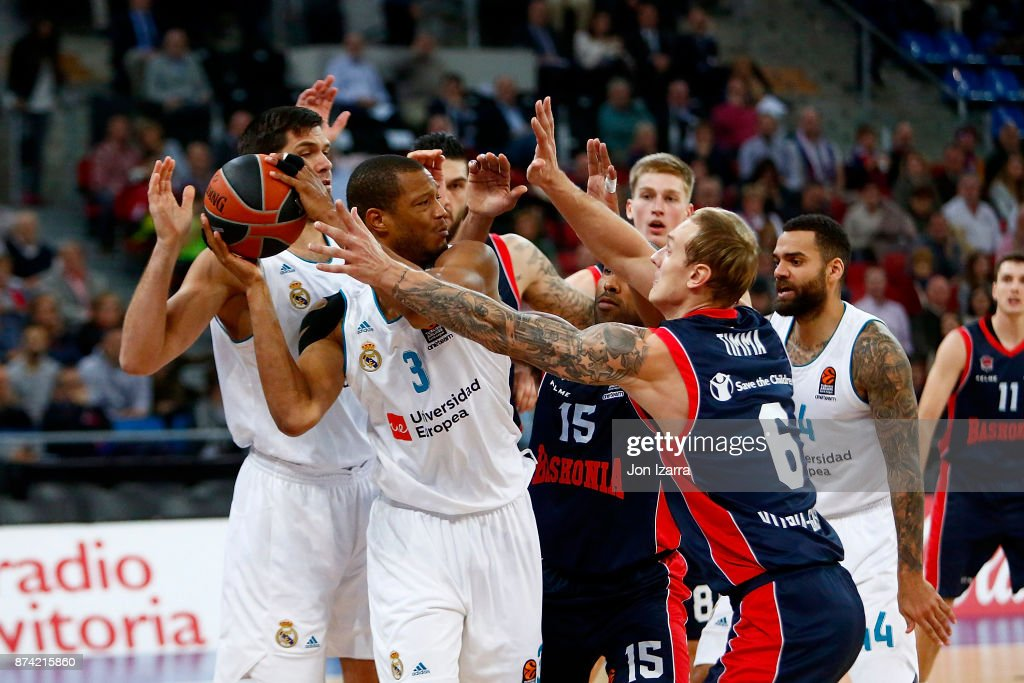 Anthony Randolph, #3 of Real Madrid competes with Janis Timma, #6 of Baskonia Vitoria Gasteiz during the 2017/2018 Turkish Airlines EuroLeague Regular Season Round 7 game between Baskonia Vitoria Gasteiz and Real Madrid at Fernando Buesa Arena on November 14, 2017 in Vitoria-Gasteiz, Spain.