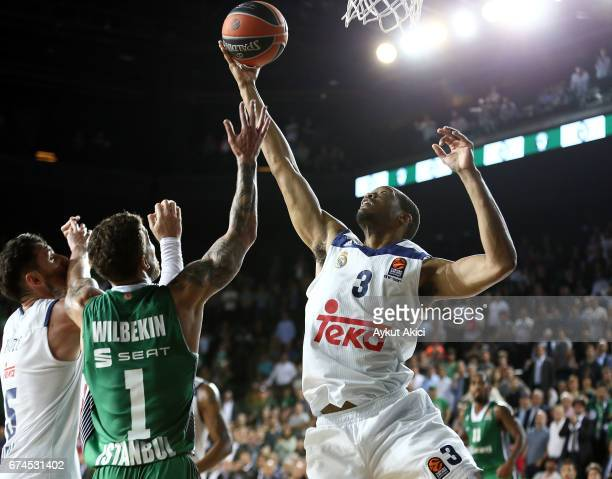 Anthony Randolph #3 of Real Madrid in action during the 2016/2017 Turkish Airlines EuroLeague Playoffs leg 4 game between Darussafaka Dogus Istanbul...