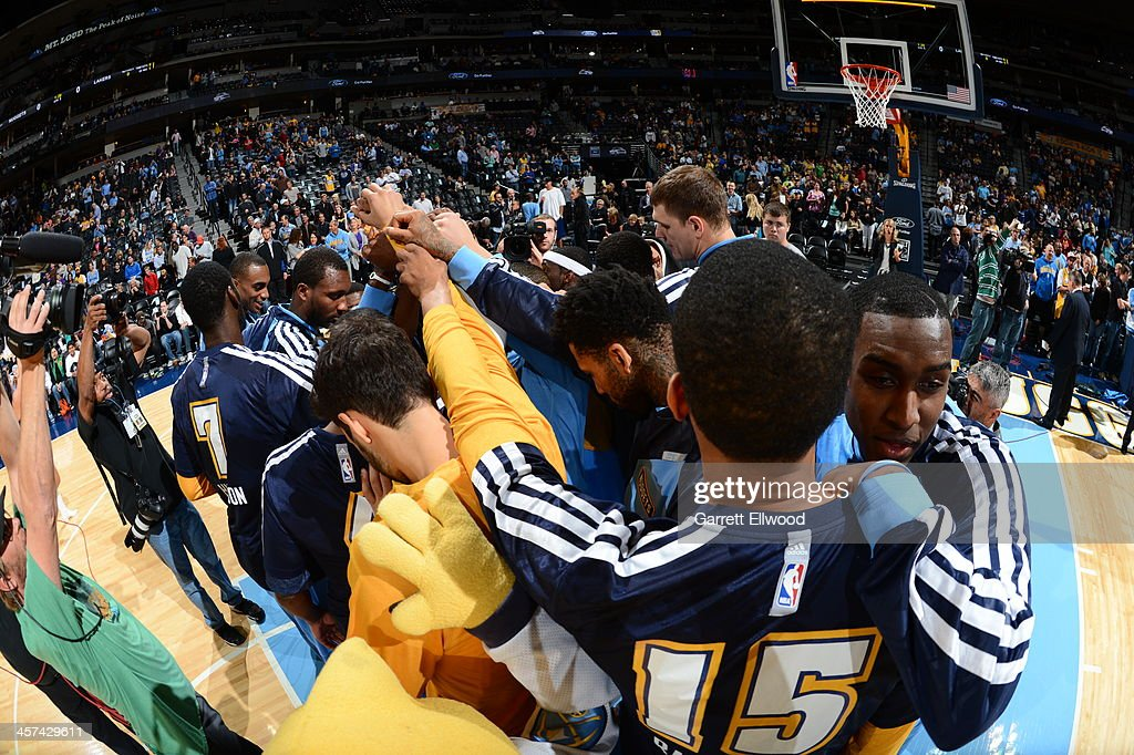 Anthony Randolph #15 and the Denver Nuggets huddle up before the game against the Los Angeles Lakers on November 13, 2013 at the Pepsi Center in Denver, Colorado.