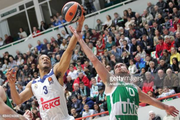 Anthony Randolph of Real Madrid in action against Joaquin Colom of UNICS Kazan during the Turkish Airlines EuroLeague match between UNICS Kazan and...