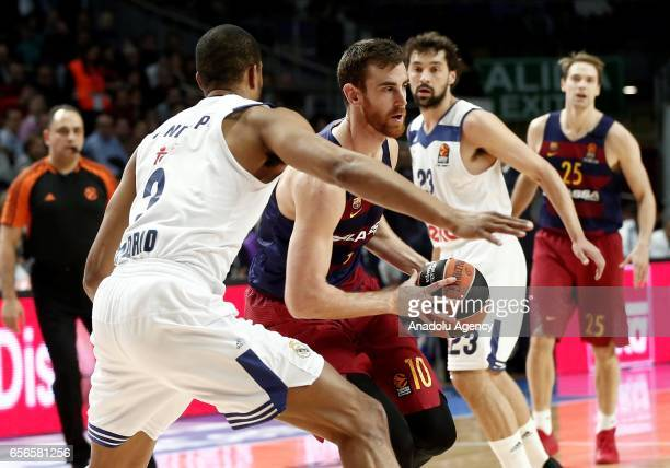 Anthony Randolph of Real Madrid in action against Victor Claver of Barcelona Lassa during the Turkish Airlines Euroleague basketball match between...