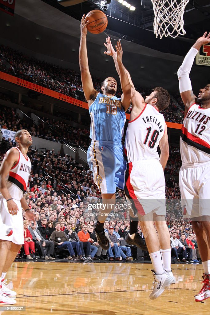 <a gi-track='captionPersonalityLinkClicked' href=/galleries/search?phrase=Anthony+Randolph&family=editorial&specificpeople=4679330 ng-click='$event.stopPropagation()'>Anthony Randolph</a> #15 of the Denver Nuggets drives to the basket against the Portland Trail Blazers on January 23, 2014 at the Moda Center Arena in Portland, Oregon.
