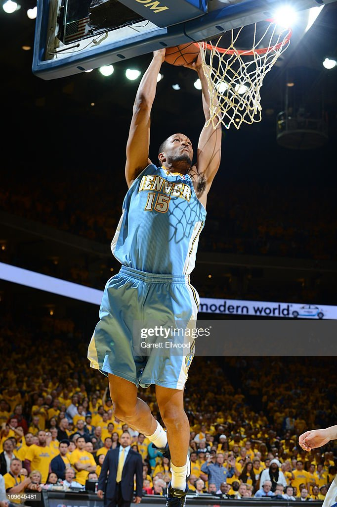 <a gi-track='captionPersonalityLinkClicked' href=/galleries/search?phrase=Anthony+Randolph+-+Basketball+Player&family=editorial&specificpeople=4679330 ng-click='$event.stopPropagation()'>Anthony Randolph</a> #15 of the Denver Nuggets dunks against the Golden State Warriors in Game Three of the Western Conference Quarterfinals during the 2013 NBA Playoffs on April 26, 2013 at the Oracle Arena in Oakland, California.