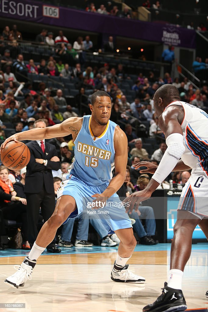 Anthony Randolph #15 of the Denver Nuggets looks to drive to the basket against the Charlotte Bobcats at the Time Warner Cable Arena on February 23, 2013 in Charlotte, North Carolina.