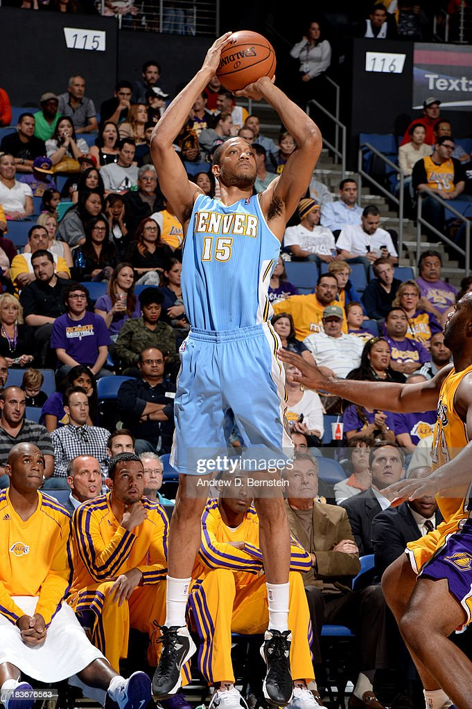 <a gi-track='captionPersonalityLinkClicked' href=/galleries/search?phrase=Anthony+Randolph+-+Basketball+Player&family=editorial&specificpeople=4679330 ng-click='$event.stopPropagation()'>Anthony Randolph</a> #15 of the Denver Nuggets puts up the shot against the Los Angeles Lakers at Citizens Business Bank Arena on October 8, 2013 in Ontario, California.