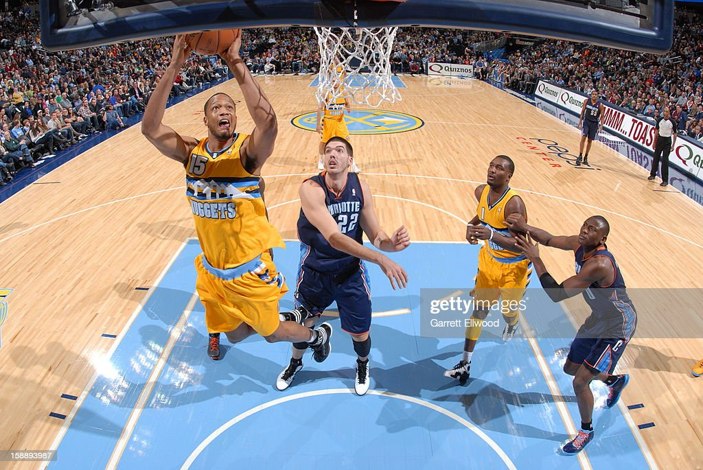 <a gi-track='captionPersonalityLinkClicked' href=/galleries/search?phrase=Anthony+Randolph&family=editorial&specificpeople=4679330 ng-click='$event.stopPropagation()'>Anthony Randolph</a> #15 of the Denver Nuggets shoots against Byron Mullens #22 of the Charlotte Bobcats on December 22, 2012 at the Pepsi Center in Denver, Colorado.