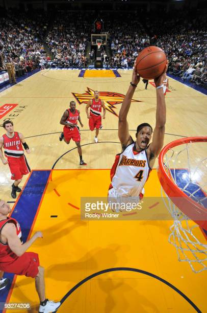 Anthony Randolph of the Golden State Warriors winds up for the jam against the Portland Trailblazers on November 20 2009 at Oracle Arena in Oakland...