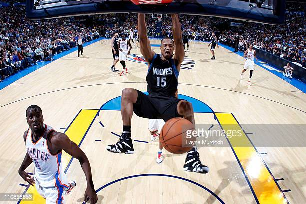 Anthony Randolph of the Minnesota Timberwolves dunks against the Oklahoma City Thunder on March 25 2011 at the Oklahoma City Arena in Oklahoma City...