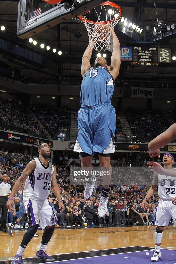 Anthony Randolph #15 of the Minnesota Timberwolves dunks the ball against the Sacramento Kings on March 18, 2012 at Power Balance Pavilion in Sacramento, California.