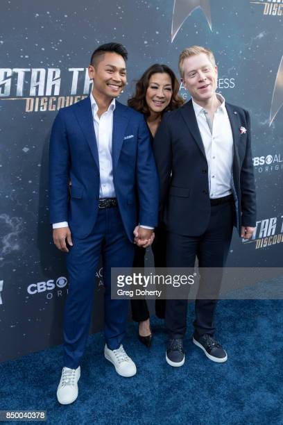 Anthony Rapp with boyfriend Ken Ithiphol and Michelle Yeoh arrive for the Premiere Of CBS's 'Star Trek Discovery' at The Cinerama Dome on September...