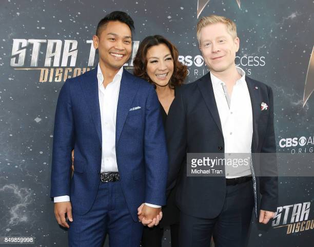 Anthony Rapp with boyfriend Teerakeni and Michelle Yeoh attend the Los Angeles premiere of CBS's 'Star Trek Discovery' held at The Cinerama Dome on...