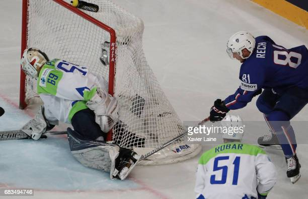 Anthony Rech of France during the 2017 IIHF Ice Hockey World Championship game between France and Slovenia at AccorHotels Arena on May 15 2017 in...