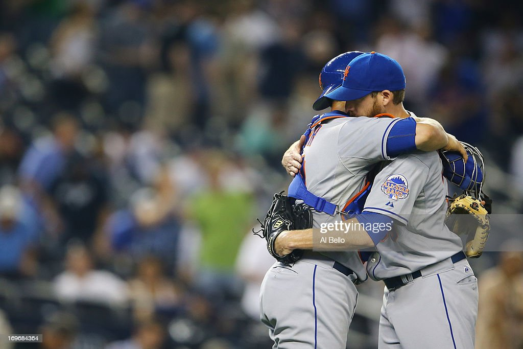 Anthony Recker #20, and <a gi-track='captionPersonalityLinkClicked' href=/galleries/search?phrase=Bobby+Parnell&family=editorial&specificpeople=5530596 ng-click='$event.stopPropagation()'>Bobby Parnell</a> #39 of the New York Mets celebrate a 3-1 win against the New York Yankees during their game on May 30, 2013 at Yankee Stadium in the Bronx borough of New York City