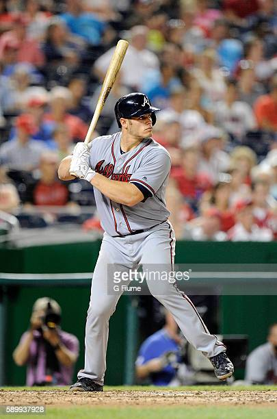 Anthony Recker of the Atlanta Braves bats against the Washington Nationals at Nationals Park on August 12 2016 in Washington DC