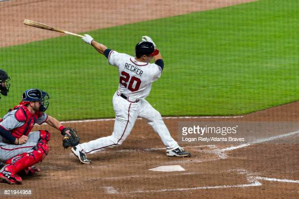 Anthony Recker of the Atlanta Braves hits against the Washington Nationals at SunTrust Park on April 19 2017 in Atlanta Georgia The Braves lost 144