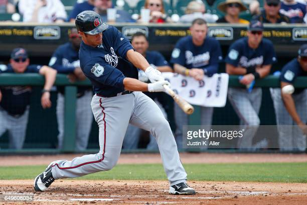 Anthony Recker of the Atlanta Braves in action against the Pittsburgh Pirates on March 7 2017 at LECOM Park in Bradenton Florida