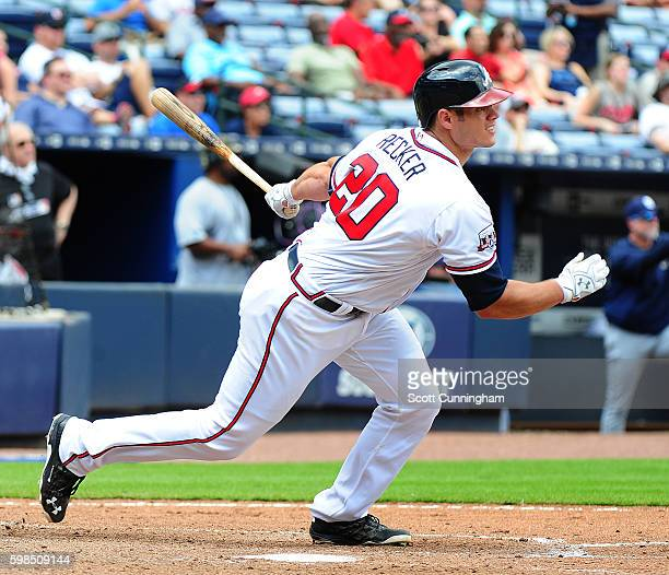 Anthony Recker of the Atlanta Braves knocks in two runs with a fifth inning single against the San Diego Padres at Turner Field on September 1 2016...