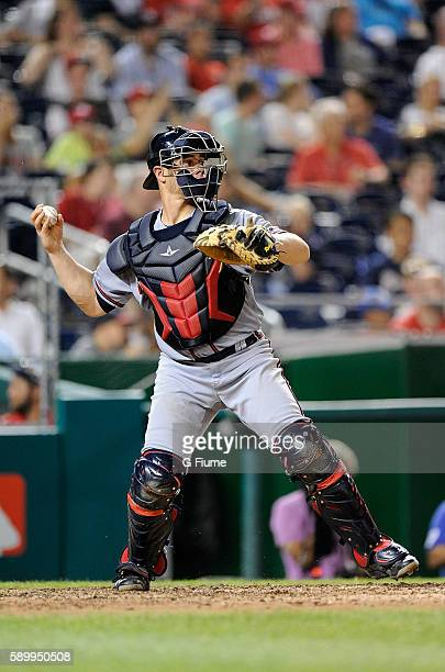Anthony Recker of the Atlanta Braves throws the ball to second base against the Washington Nationals at Nationals Park on August 12 2016 in...