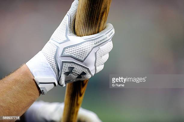 Anthony Recker of the Atlanta Braves wears Under Armour batting gloves during the game against the Washington Nationals at Nationals Park on August...
