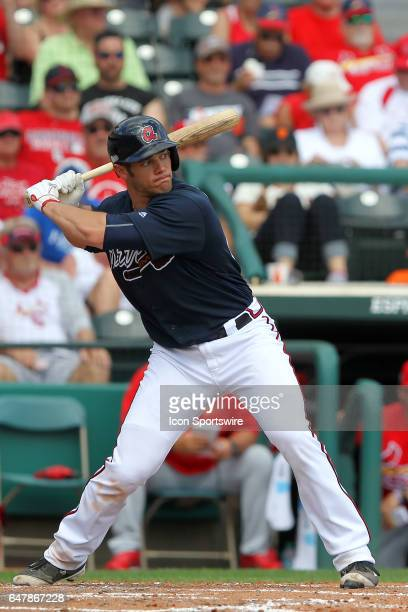 Anthony Recker of the Braves at bat during the spring training game between the St Louis Cardinals and the Atlanta Braves on February 28 2017 at...