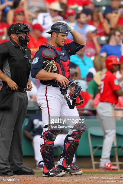Anthony Recker of the Braves at catcher during the spring training game between the St Louis Cardinals and the Atlanta Braves on February 28 2017 at...