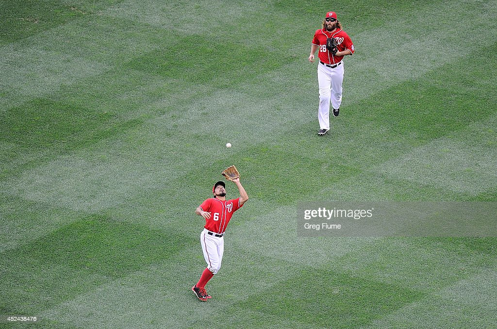 <a gi-track='captionPersonalityLinkClicked' href=/galleries/search?phrase=Anthony+Rendon&family=editorial&specificpeople=7539238 ng-click='$event.stopPropagation()'>Anthony Rendon</a> #6 of the Washington Nationals catches a pop fly in the sixth inning against the Milwaukee Brewers at Nationals Park on July 20, 2014 in Washington, DC.