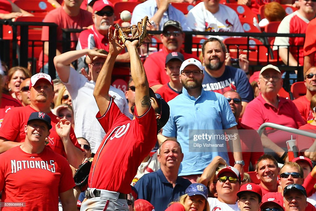 Anthony Rendon #6 of the Washington Nationals catches a pop up against the St. Louis Cardinals in the sixth inning at Busch Stadium on May 1, 2016 in St. Louis, Missouri.