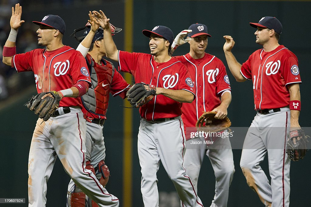Anthony Rendon #6 of the Washington Nationals celebrates with his teammates after the Nationals defeated the Cleveland Indians at Progressive Field on June 15, 2013 in Cleveland, Ohio. The Nationals defeated the Indians 7-6.